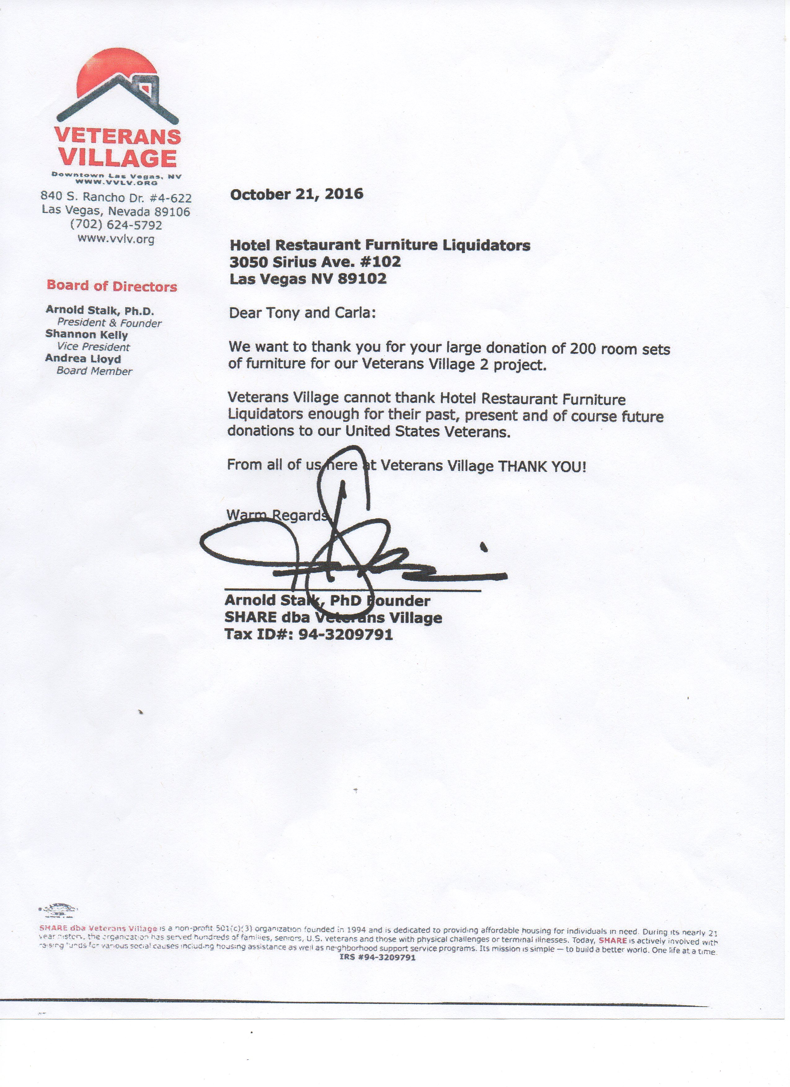 Hrfl Has Donated Over 300 Rooms Of Furniture To Date Veterans Village Image Read The Donation Letter